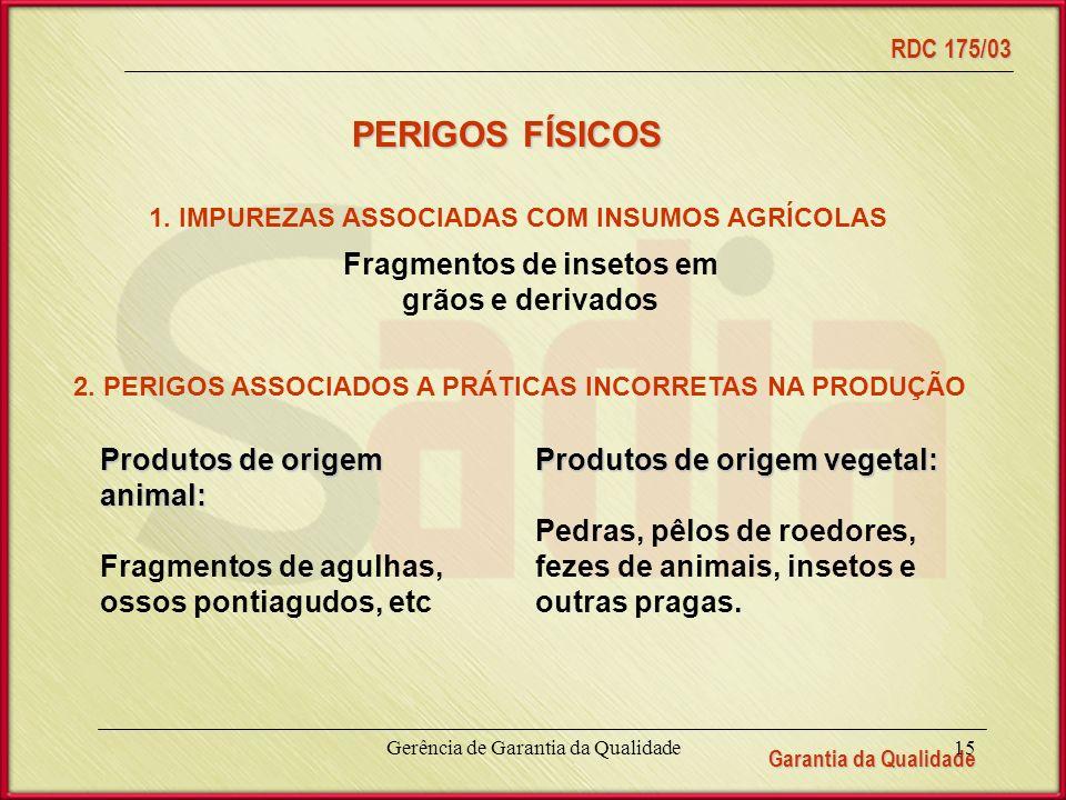 PERIGOS FÍSICOS Fragmentos de insetos em grãos e derivados