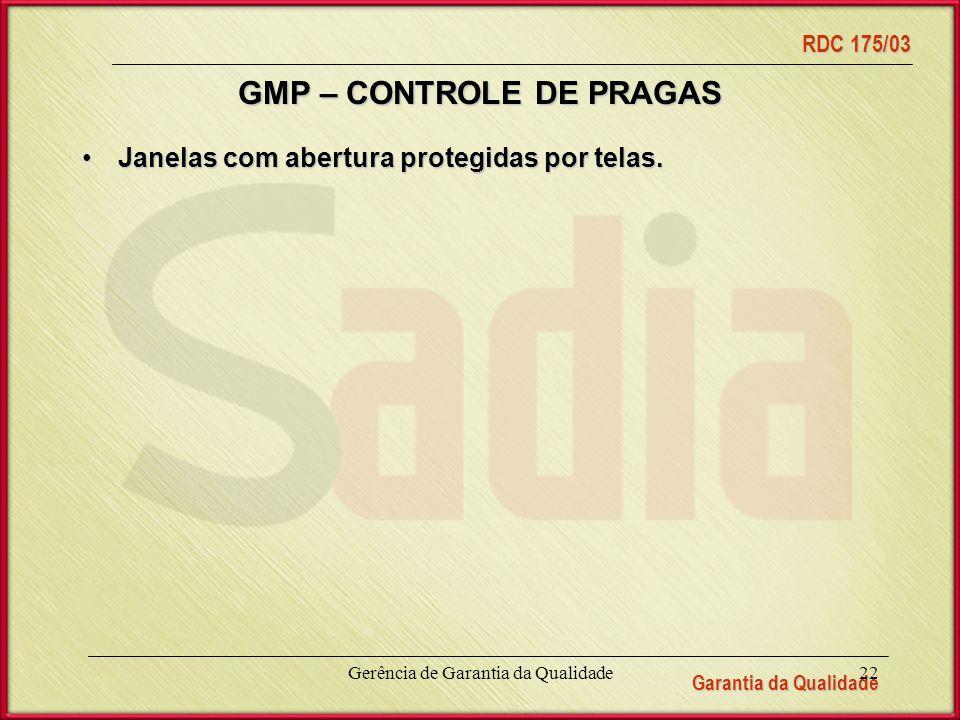GMP – CONTROLE DE PRAGAS