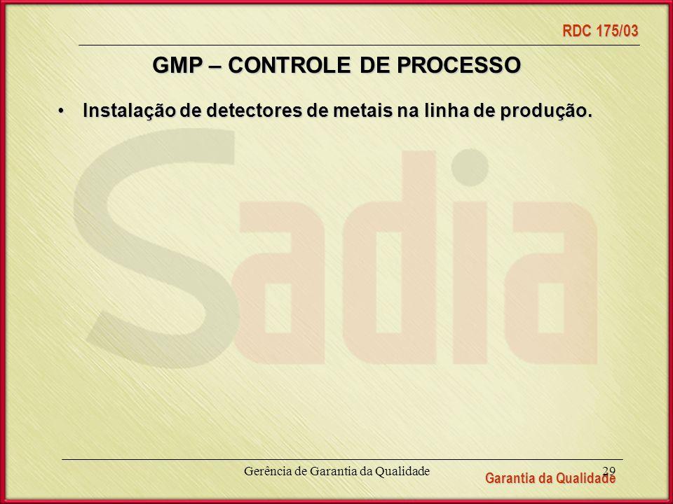 GMP – CONTROLE DE PROCESSO