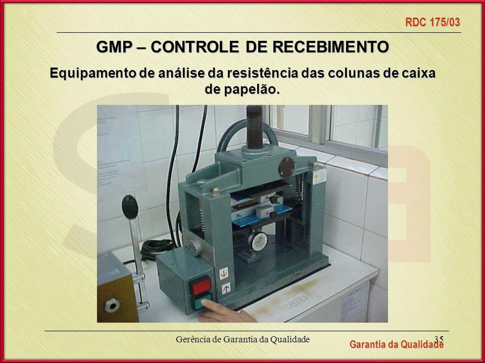 Equipamento de análise da resistência das colunas de caixa de papelão.