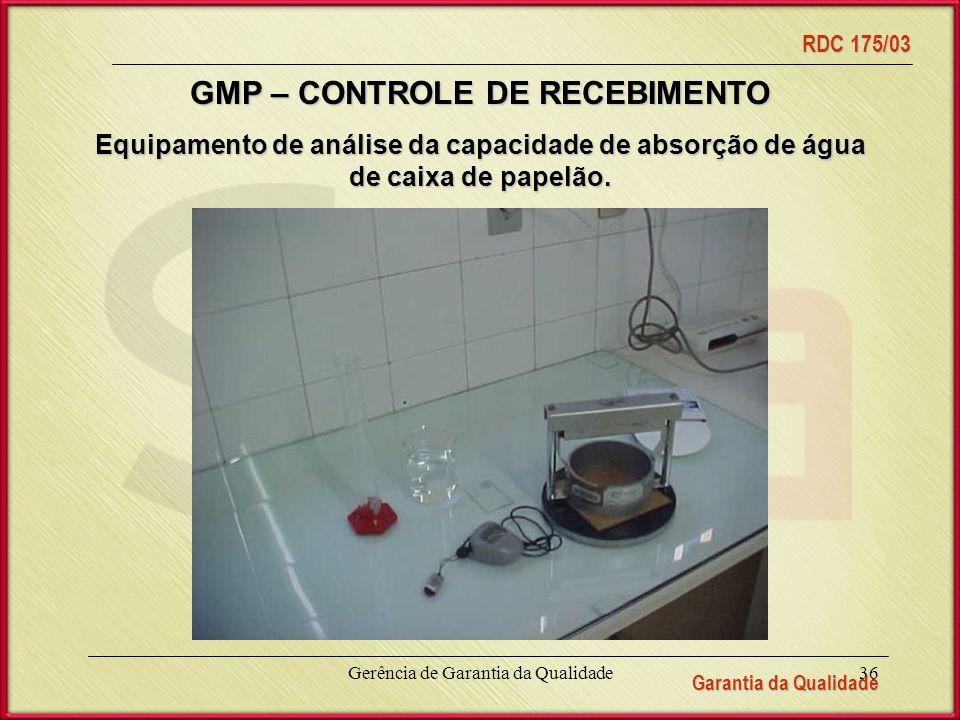 GMP – CONTROLE DE RECEBIMENTO