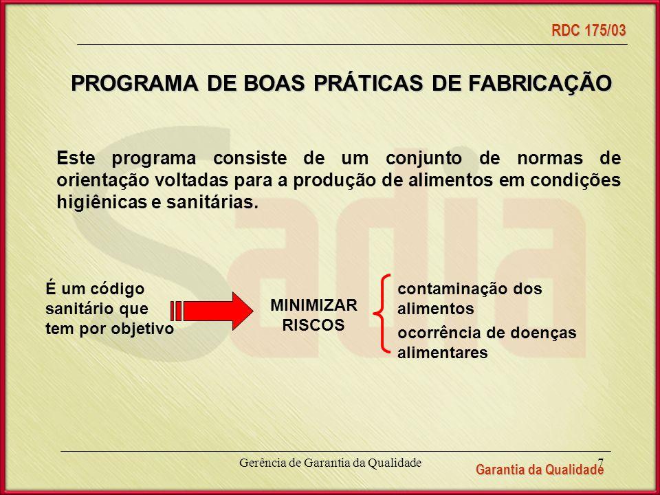 PROGRAMA DE BOAS PRÁTICAS DE FABRICAÇÃO