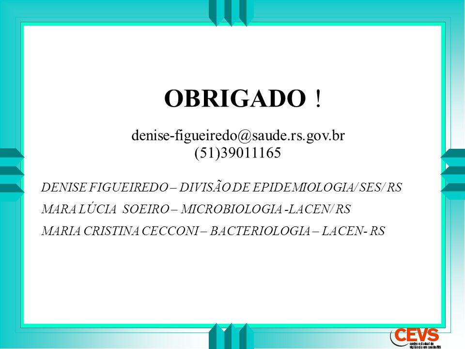 OBRIGADO ! denise-figueiredo@saude.rs.gov.br (51)39011165