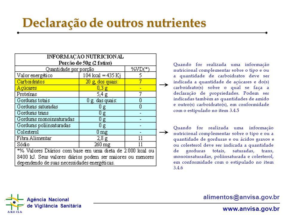 Declaração de outros nutrientes
