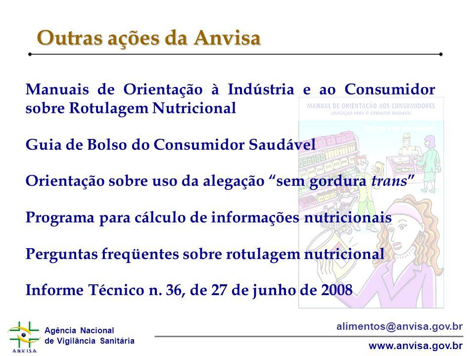 Outras ações da Anvisa Manuais de Orientação à Indústria e ao Consumidor sobre Rotulagem Nutricional.