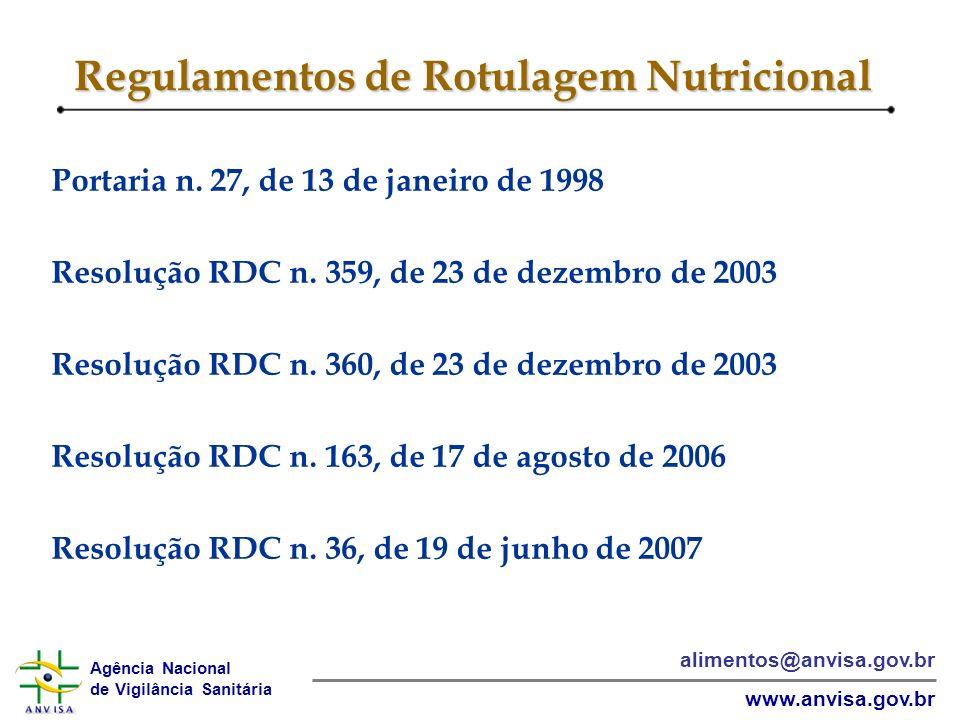 Regulamentos de Rotulagem Nutricional