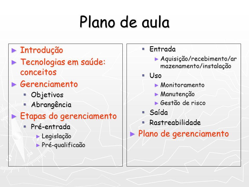 Plano de aula Introdução Tecnologias em saúde: conceitos Gerenciamento