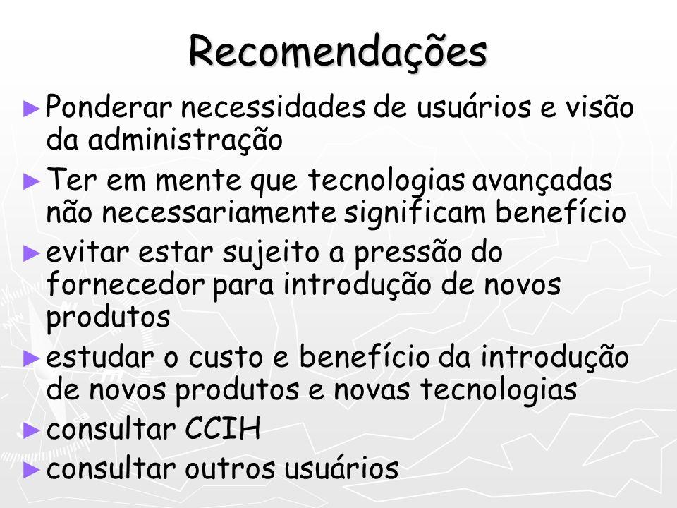 Recomendações Ponderar necessidades de usuários e visão da administração.