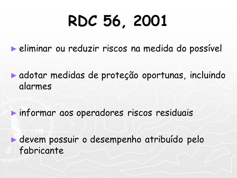 RDC 56, 2001 eliminar ou reduzir riscos na medida do possível