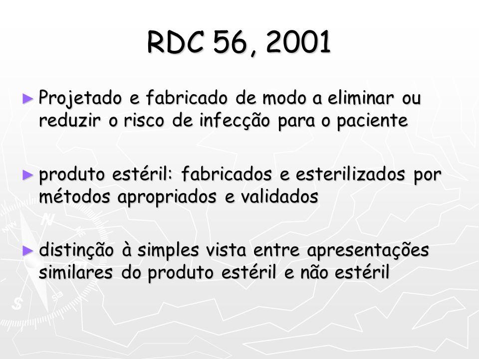 RDC 56, 2001 Projetado e fabricado de modo a eliminar ou reduzir o risco de infecção para o paciente.