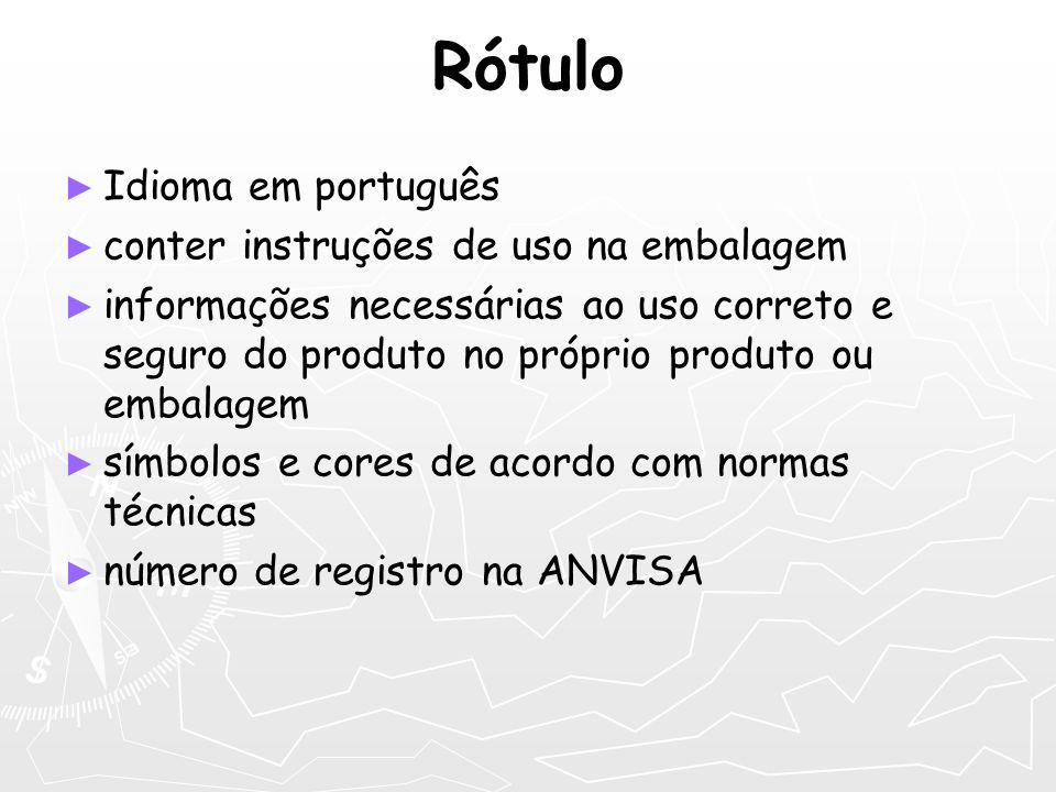 Rótulo Idioma em português conter instruções de uso na embalagem