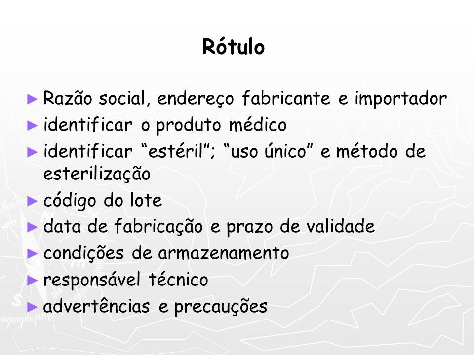 Rótulo Razão social, endereço fabricante e importador