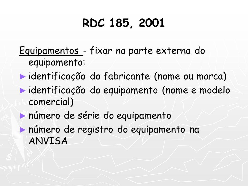 RDC 185, 2001 Equipamentos - fixar na parte externa do equipamento: