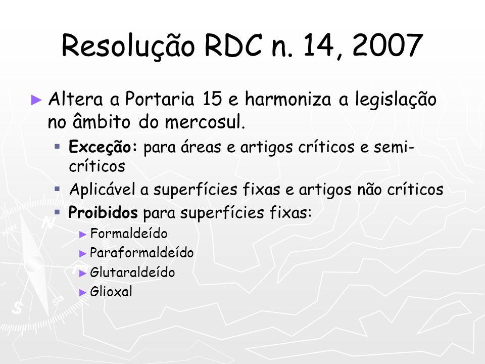 Resolução RDC n. 14, 2007Altera a Portaria 15 e harmoniza a legislação no âmbito do mercosul. Exceção: para áreas e artigos críticos e semi-críticos.