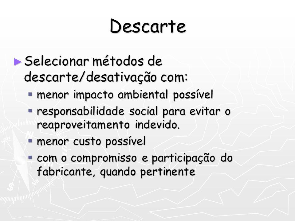 Descarte Selecionar métodos de descarte/desativação com: