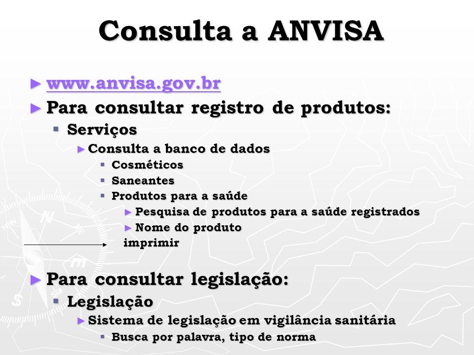 Consulta a ANVISA www.anvisa.gov.br