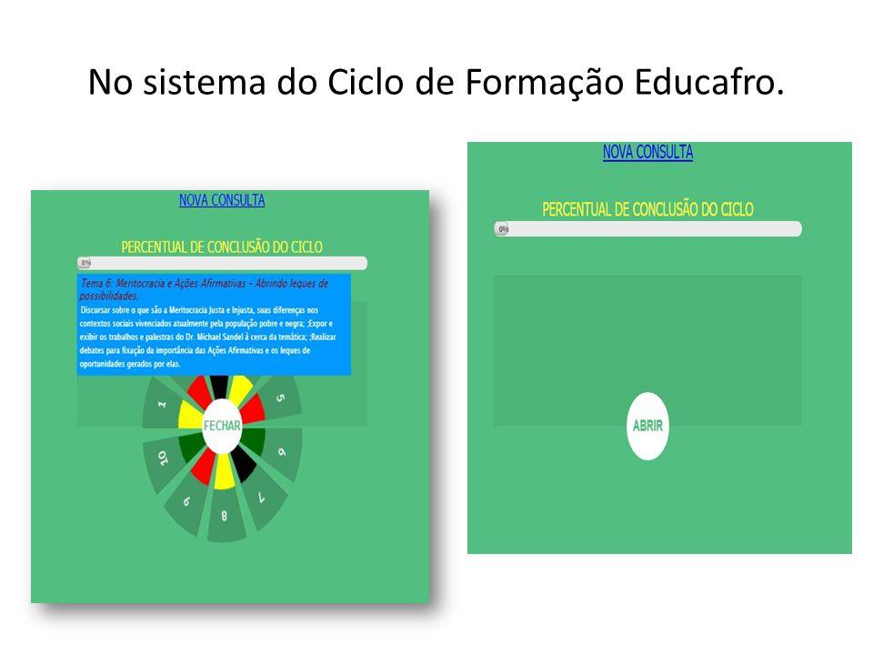 No sistema do Ciclo de Formação Educafro.