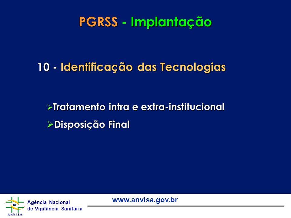 PGRSS - Implantação 10 - Identificação das Tecnologias