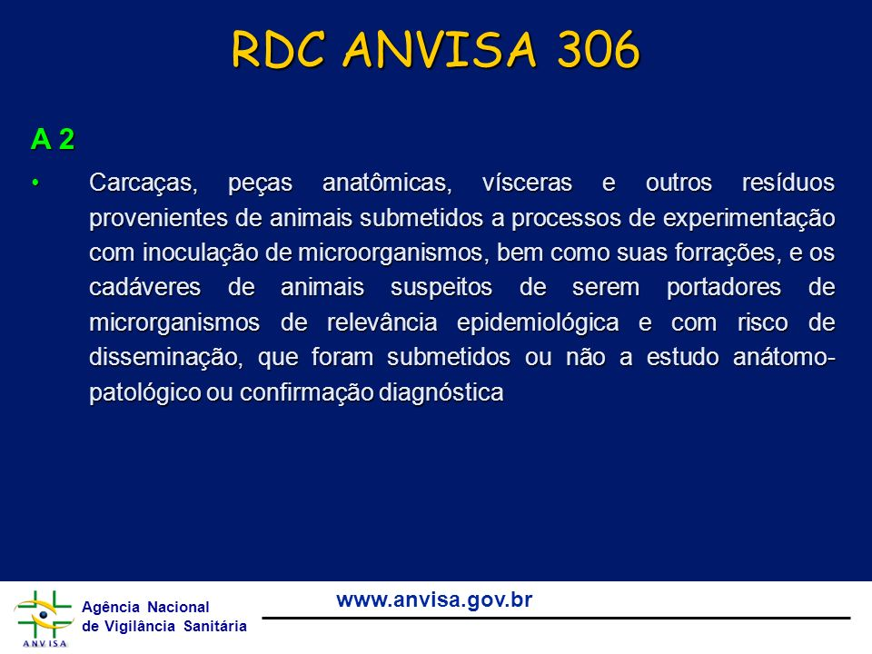 RDC ANVISA 306 A 2.