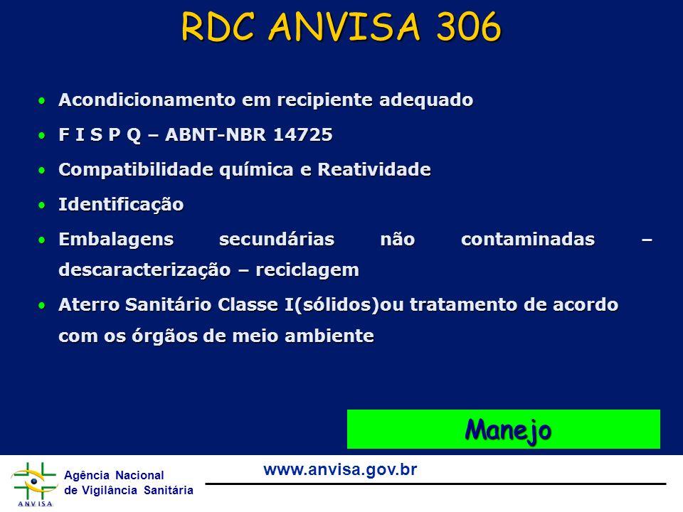 RDC ANVISA 306 Manejo Acondicionamento em recipiente adequado