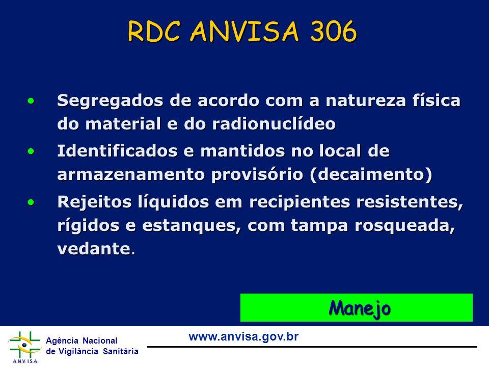RDC ANVISA 306 Segregados de acordo com a natureza física do material e do radionuclídeo.