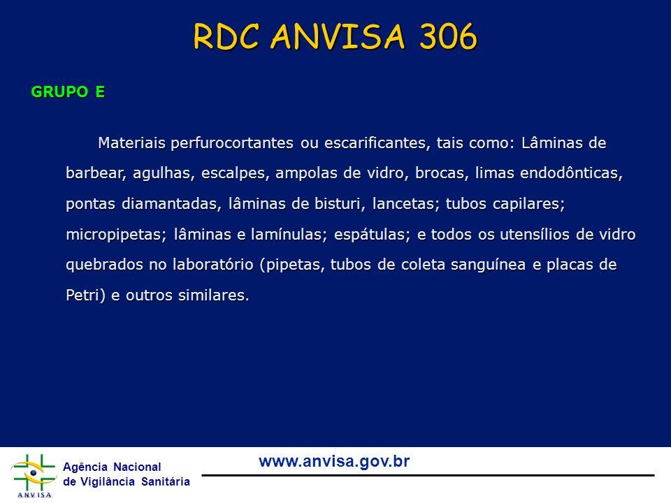 RDC ANVISA 306 GRUPO E.