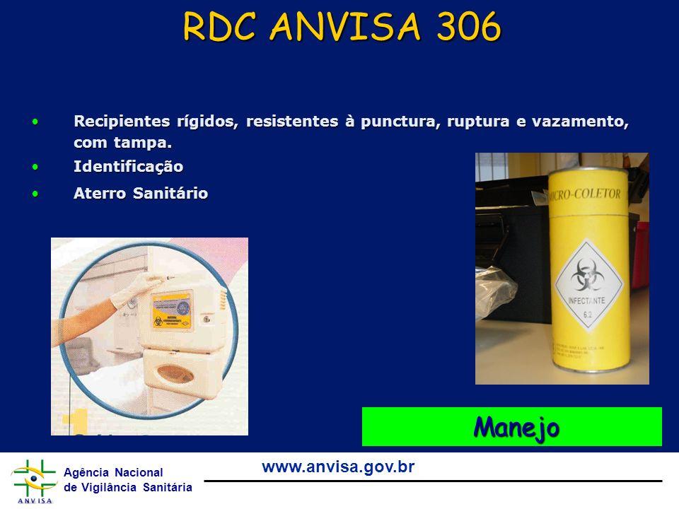 RDC ANVISA 306 Recipientes rígidos, resistentes à punctura, ruptura e vazamento, com tampa. Identificação.