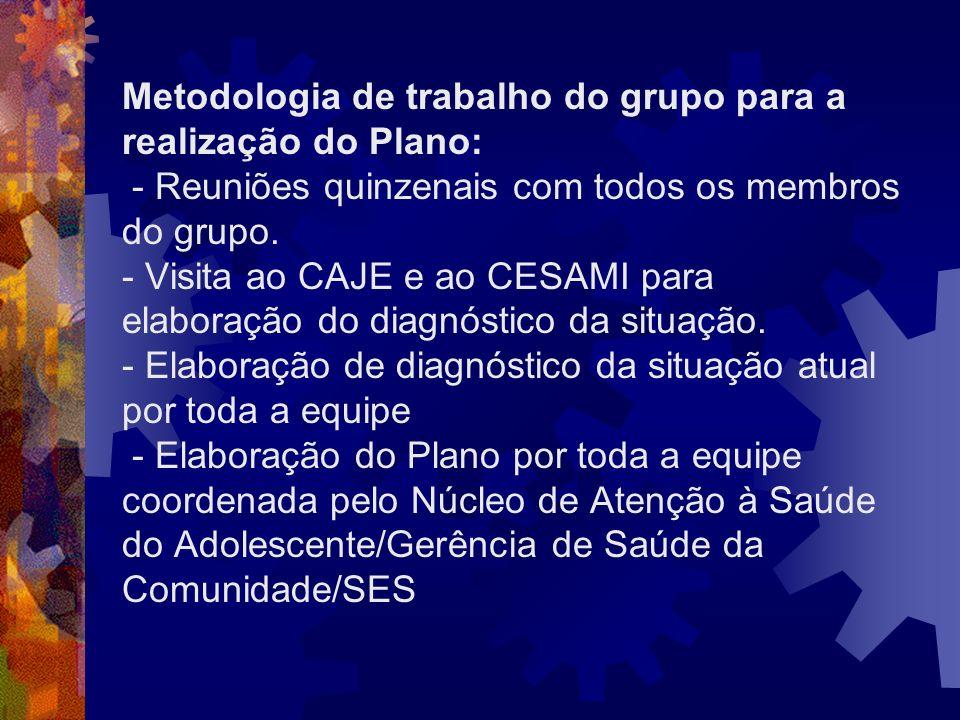 Metodologia de trabalho do grupo para a realização do Plano: - Reuniões quinzenais com todos os membros do grupo.