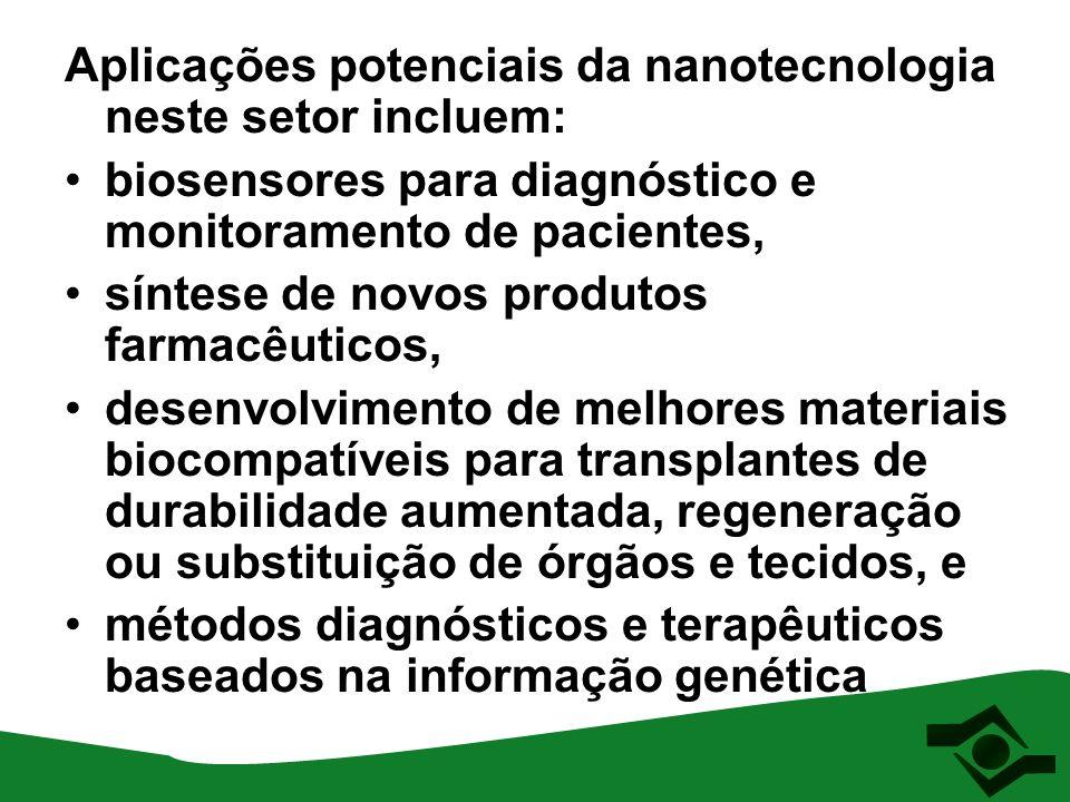 Aplicações potenciais da nanotecnologia neste setor incluem: