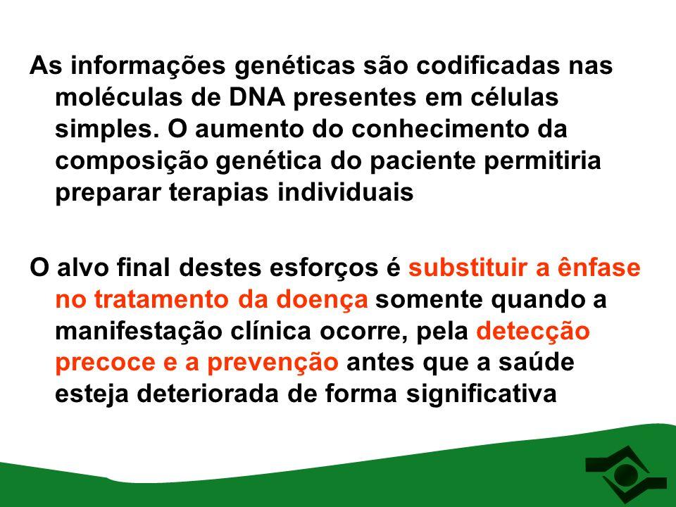 As informações genéticas são codificadas nas moléculas de DNA presentes em células simples. O aumento do conhecimento da composição genética do paciente permitiria preparar terapias individuais