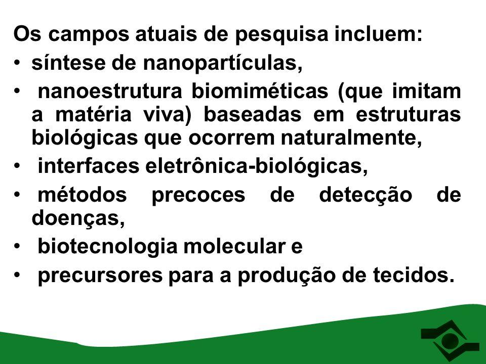 Os campos atuais de pesquisa incluem: