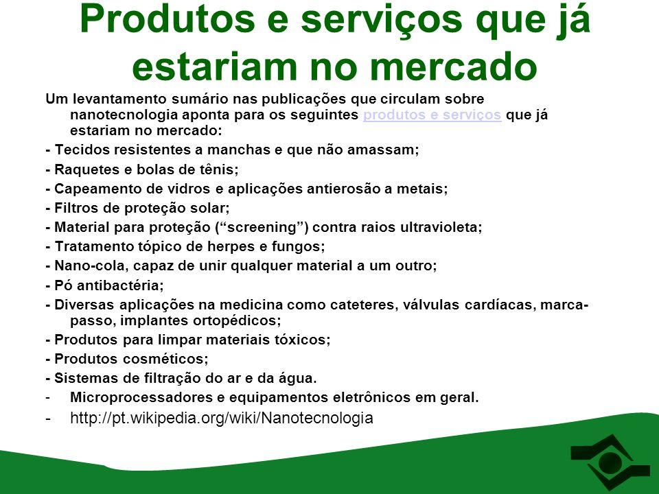 Produtos e serviços que já estariam no mercado