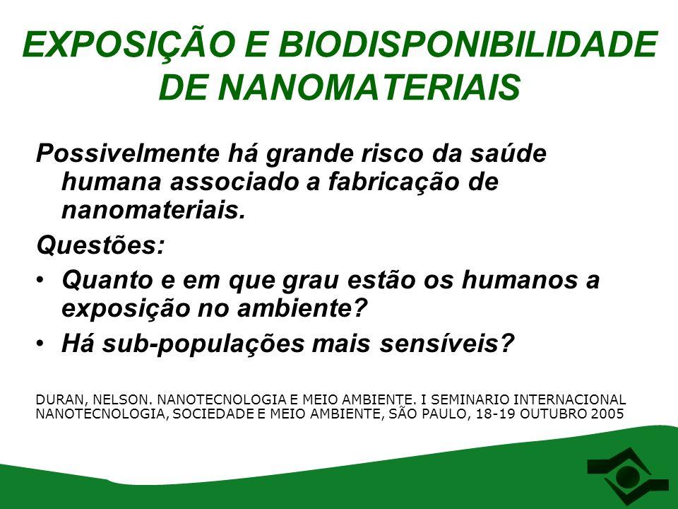 EXPOSIÇÃO E BIODISPONIBILIDADE DE NANOMATERIAIS