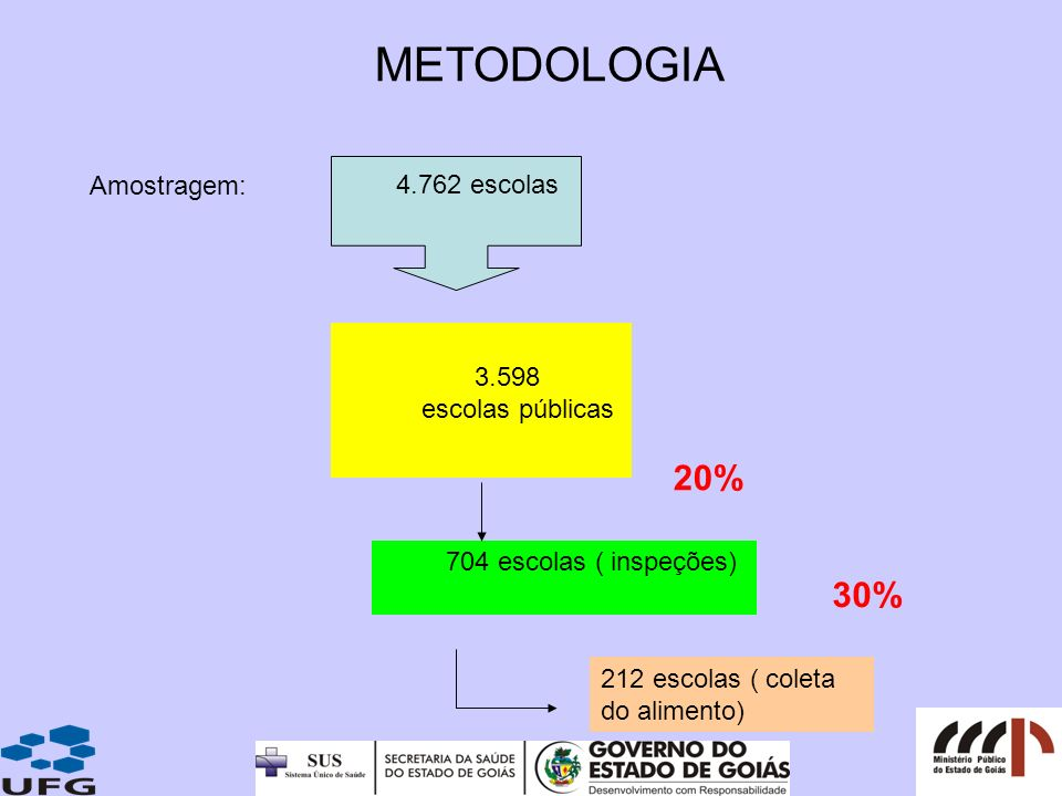 METODOLOGIA 20% 30% 4.762 escolas Amostragem: 3.598 escolas públicas