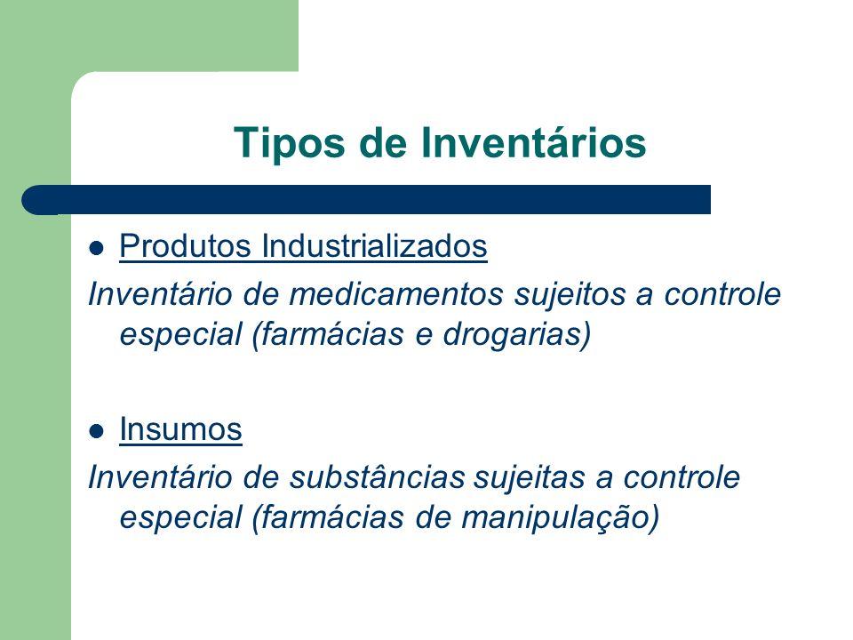 Tipos de Inventários Produtos Industrializados
