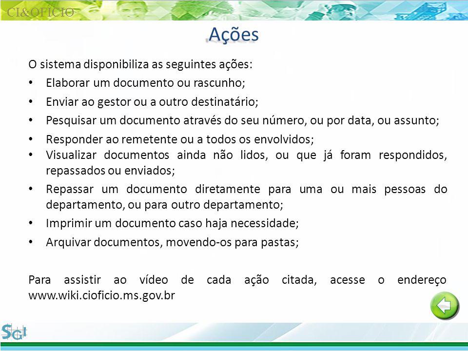 Ações CI&OFÌCIO O sistema disponibiliza as seguintes ações:
