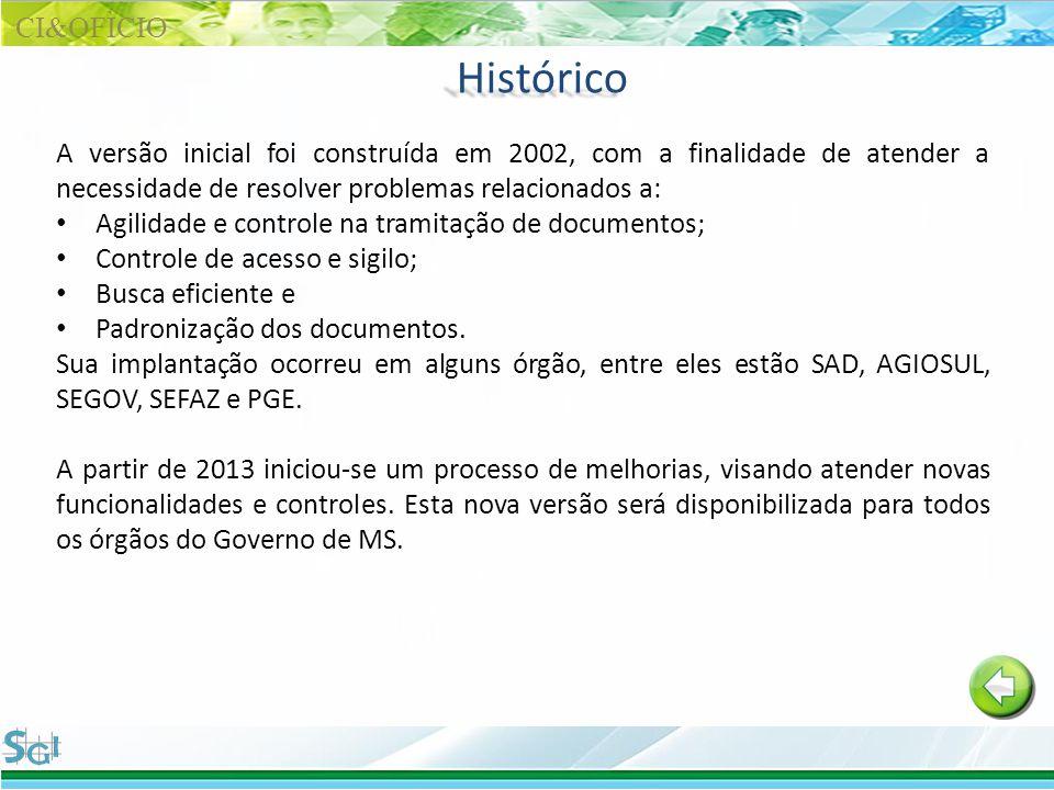 CI&OFÌCIO Histórico. A versão inicial foi construída em 2002, com a finalidade de atender a necessidade de resolver problemas relacionados a: