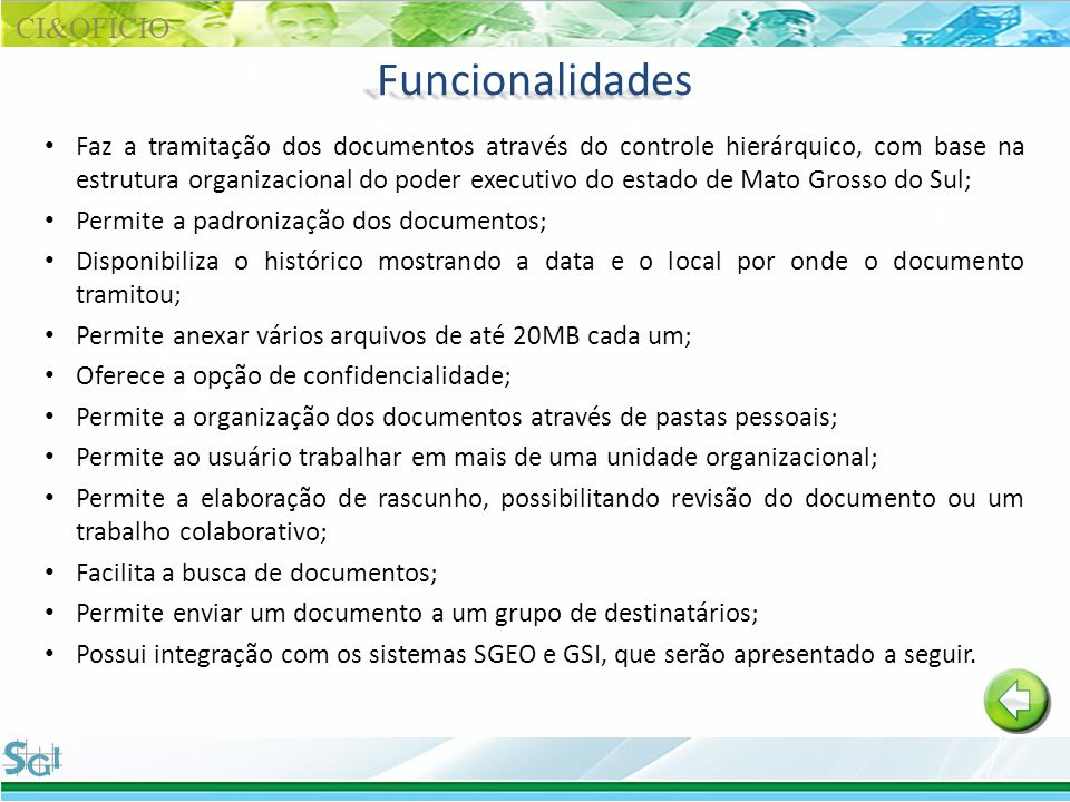 Funcionalidades CI&OFÌCIO