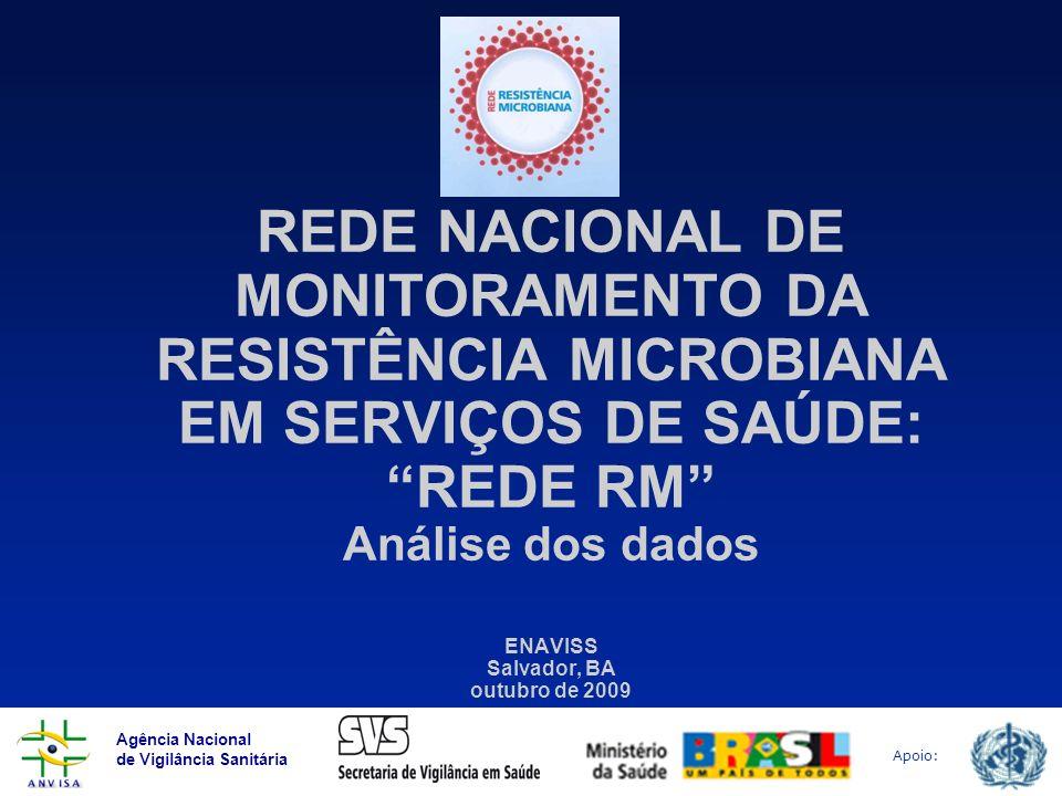 REDE NACIONAL DE MONITORAMENTO DA RESISTÊNCIA MICROBIANA EM SERVIÇOS DE SAÚDE: REDE RM Análise dos dados ENAVISS Salvador, BA outubro de 2009