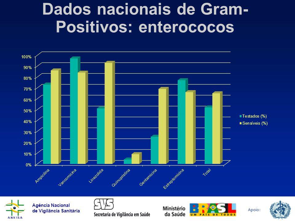 Dados nacionais de Gram-Positivos: enterococos