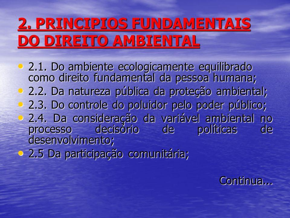 2. PRINCIPIOS FUNDAMENTAIS DO DIREITO AMBIENTAL