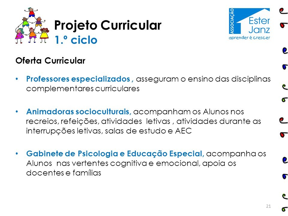 Projeto Curricular 1.º ciclo Oferta Curricular
