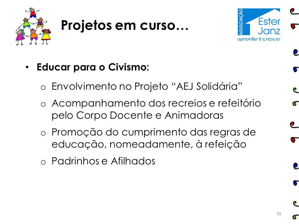 Projetos em curso… Educar para o Civismo: