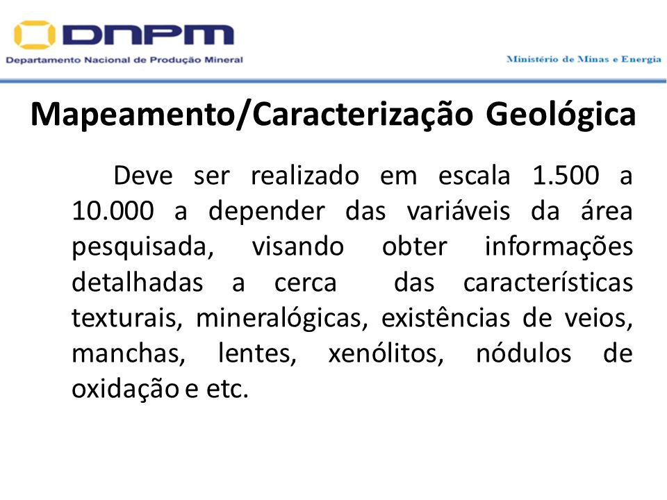 Mapeamento/Caracterização Geológica