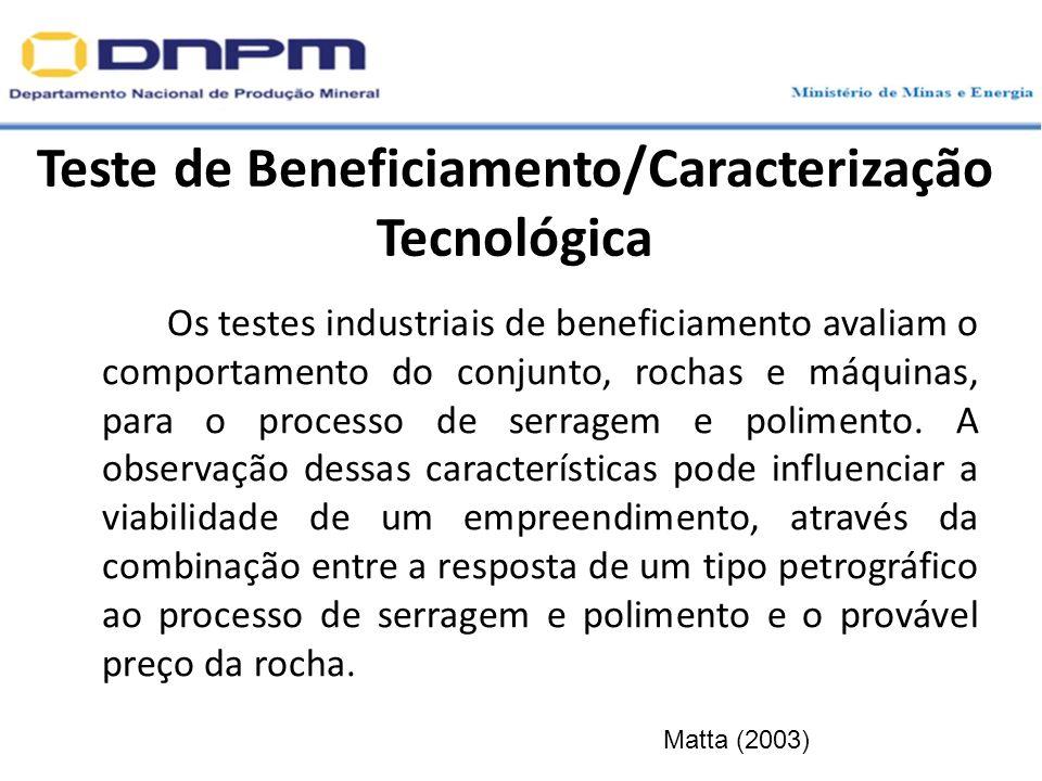 Teste de Beneficiamento/Caracterização Tecnológica