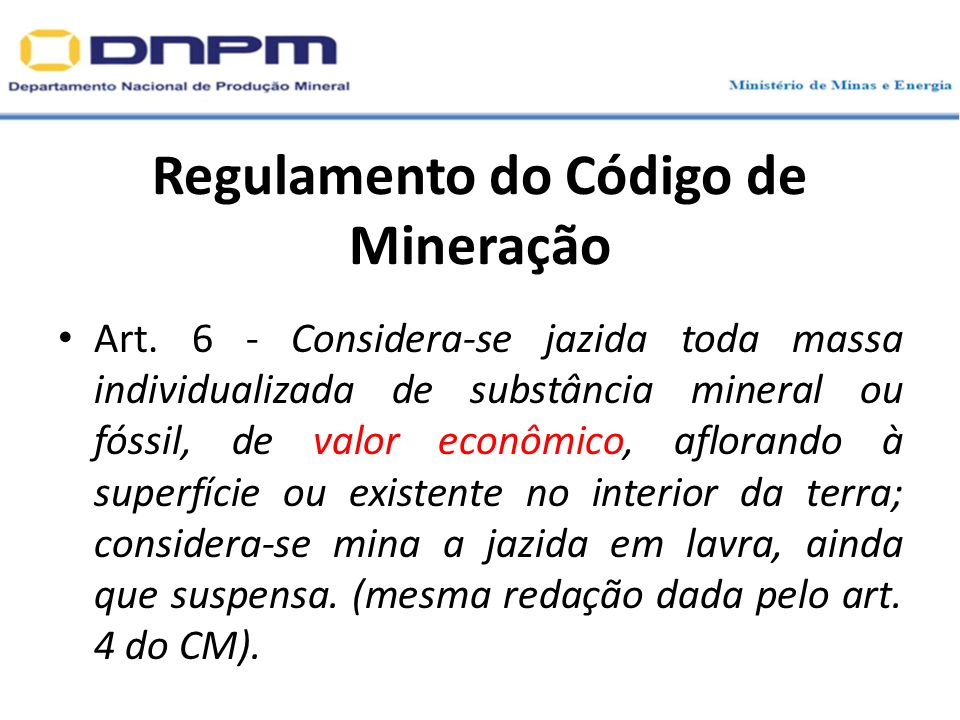 Regulamento do Código de Mineração