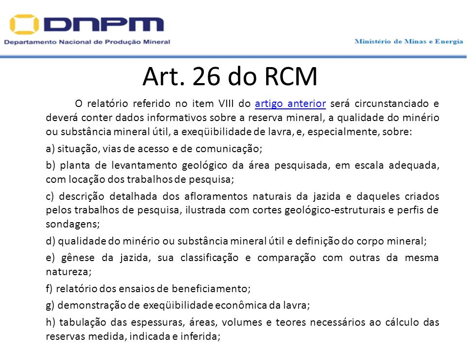 Art. 26 do RCM