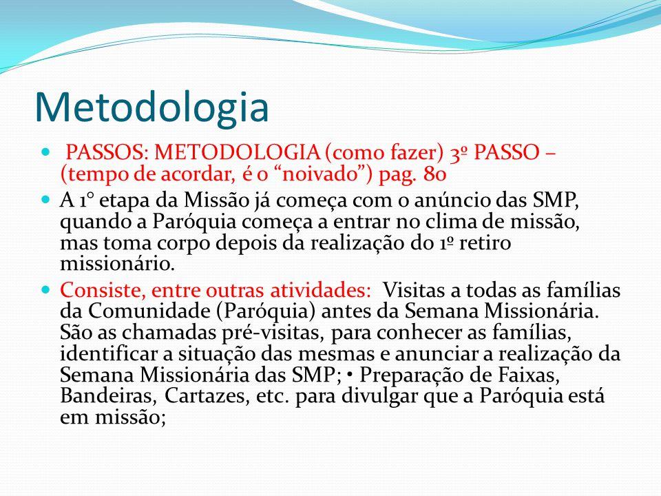 Metodologia PASSOS: METODOLOGIA (como fazer) 3º PASSO – (tempo de acordar, é o noivado ) pag. 80.