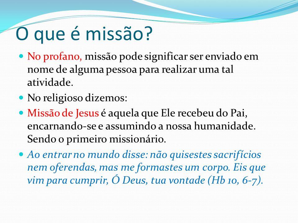 O que é missão No profano, missão pode significar ser enviado em nome de alguma pessoa para realizar uma tal atividade.
