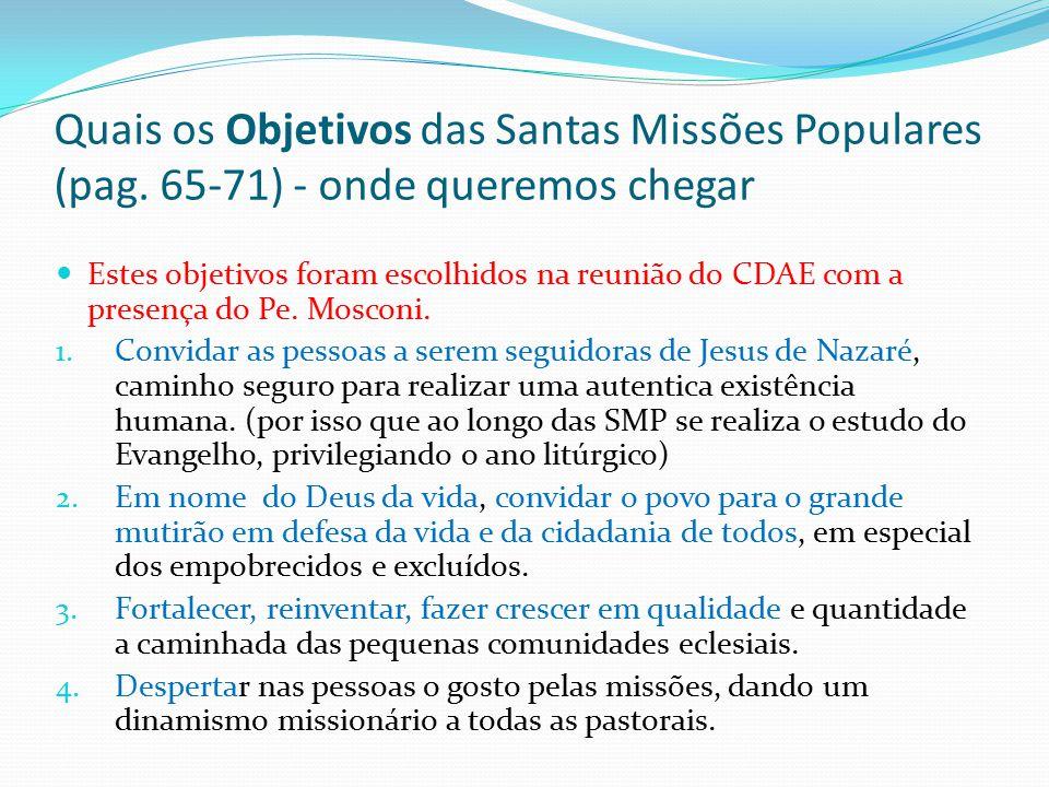 Quais os Objetivos das Santas Missões Populares (pag